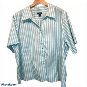 💝Westbound Woman Turquoise striped shirt 3X